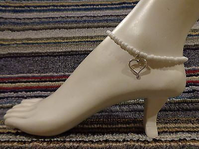 HEART silver tibet alloy charm ankle bracelet beads anklet stretchy