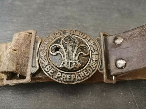Vintage Boy Scout Leather Belt and Buckle. Be Prepared.