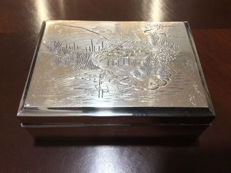 Vintage/antique Chinese/Japanese  Sterling Silver Wooden Box Marked: Silver 950