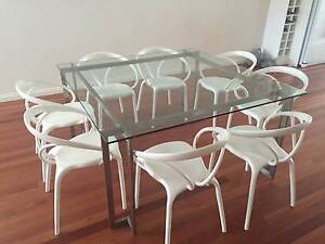Glass dining table and chairs Camberwell Boroondara Area Preview