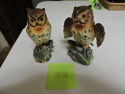 2 Vintage Norcrest Japan Owl Figurine on Tree Branch