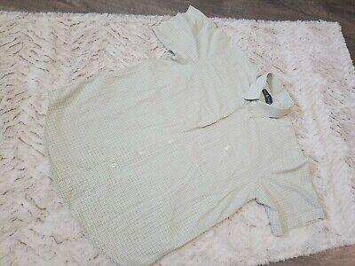 Mens button front shirt green check Ralph Lauren sz large short sleeve  Tab Front Shirt