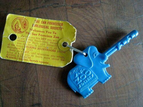 """RARE San Francisco Zoo Key BLUE Elephant Vintage S.F. Zoo Society 4"""" w/ TAG"""