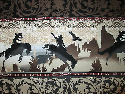COWBOY HORSES BORDER HORSE FANCY BROWN COTTON FABRIC FQ OOP