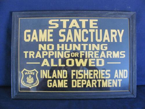 STATE OF MAINE INLAND FISH &  WILDLIFE SANTUARY CARDBOARD FRAMED SIGN