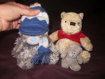 GANG OF 3X TEDDY BEARS-2X 'ME TO YOU' & 1X WINNIE THE POOH. GOOD CLEAN CONDITION