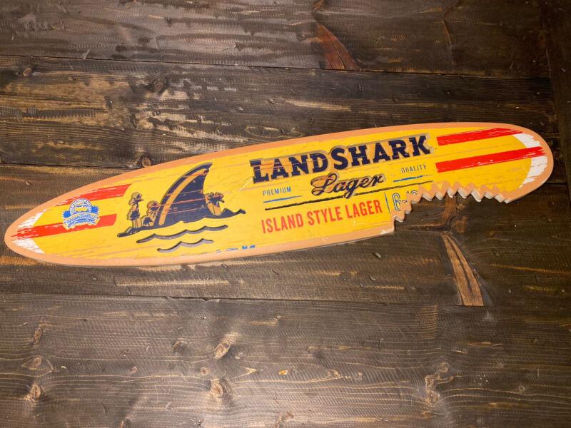 """LANDSHARK SHARK ISLAND STYLE LAGER BITTEN SURFBOARD SIGN 40"""" Long Margaritaville"""