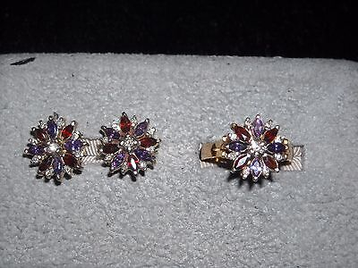 435 14k Y G diamond garnet amethyst earring ring set .4 ct H VS2 size 6.5        (Amethyst Vs2 Ring)