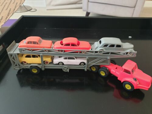 Ultra Rare Norev Car Transporter + 5 cars from 1950s (Plastic first issues) 1/43