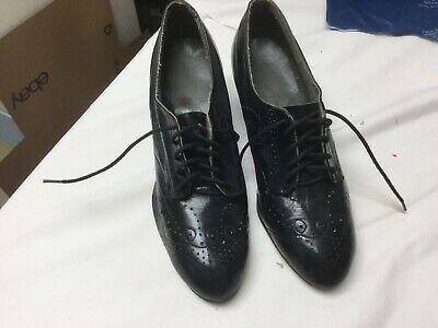 "Men's 1920s Style Ties, Neck Ties & Bowties EXQUISITE VINTAGE 1910-1920'S WOMEN'S BLACK TIE LEATHER SHOES ""LADY GRAY"" 4.5 W $69.00 AT vintagedancer.com"