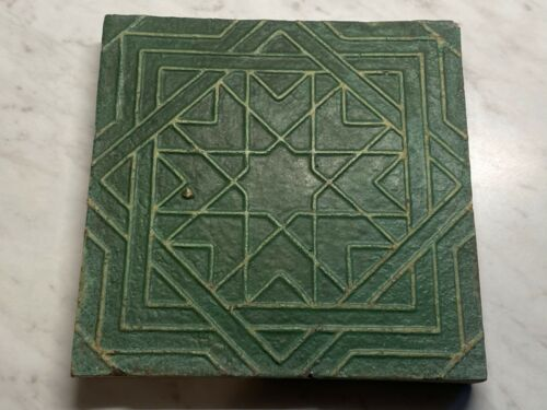 "Antique Arts & Crafts Geometric Art Tile 6"" x 6"" Grueby Green"