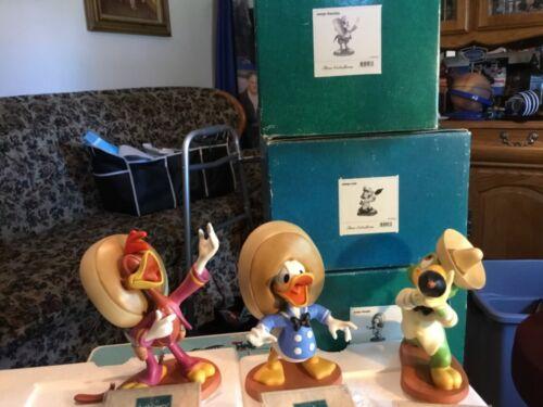 1995 WDCC Three Caballeros Donald Panchito Jose Figurines W/COA BOX