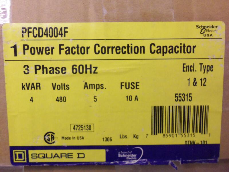 NEW SQUARE D PFCD4004F POWER FACTOR CAPACITOR 4kVAR 480V 3 PHASE 5 AMP