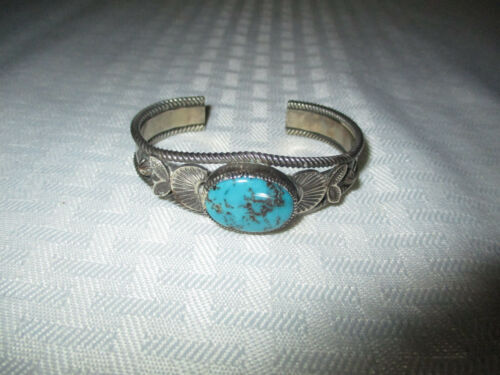 Vintage Adam & Rita Teller Signed De Chelly .925 Sterling & Turquoise Bracelet