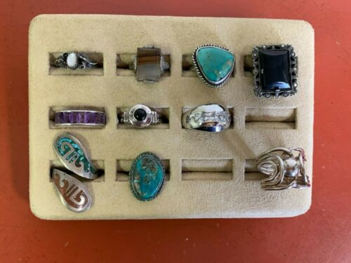 Set Of (10) Sterling Silver Rings Assorted Styles Sizes 7 & UNDER Lot #38