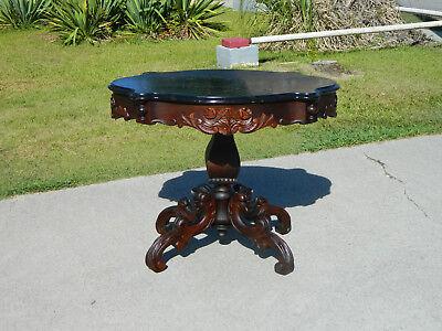Mahogany Center Table (Mahogany Dolphin Carved Victorian Center Table circa 1850 )