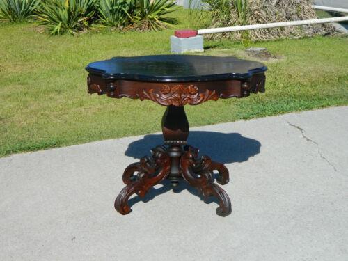 Mahogany Dolphin Carved Victorian Center Table circa 1850
