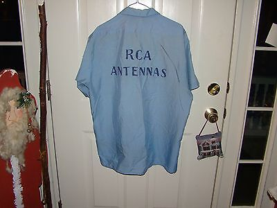 VINTAGE RCA ANTENNAS EMBROIDERED EMPLOYEE Uniform XL SHIRT