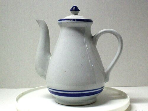 Stoneware Grey with Blue Stripes Coffee Pot Fast Shipping