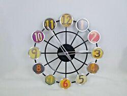 License Plate Wall Clock 14 Metal Spoke Wheel Multi Color Numbers Man Cave