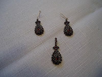 Antique Bohemian Rose-Cut Garnet Dangle Earrings& pendant ~ see all pics 4 color