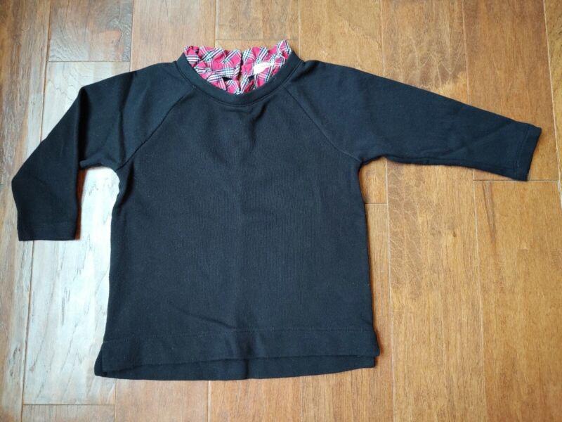 Crewcuts Black Knit Top Red Plaid Ruffle Size 6-7 EUC!