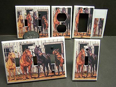 WESTERN HORSES READY TO RIDE  HOME DECOR LIGHT SWITCH COVER PLATE OR OUTLET  - Lightswitch Cover
