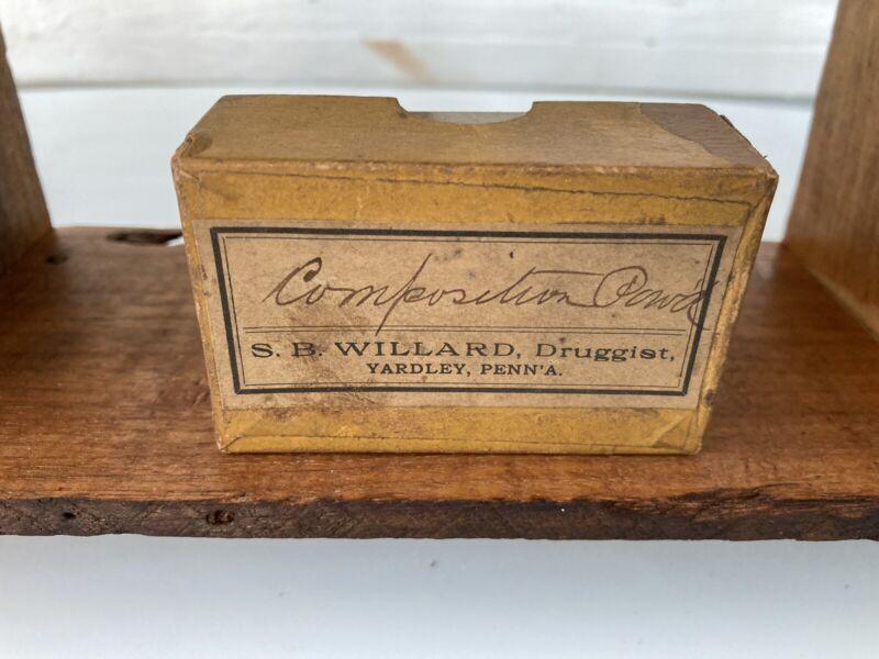 Apothecary Medicine Box, Willard,Yardley,PA,Druggist,Bucks County