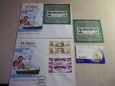 TUVALU STAMPS 1981 Charles & Diana Royal Wedding Mint Sheet , Booklet + COVERS