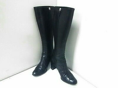 Auth GUCCI Double G Black Leather Boots Women