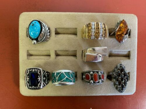 Set Of (10) Sterling Silver Rings Assorted Styles Sizes 7-9 Lot #28