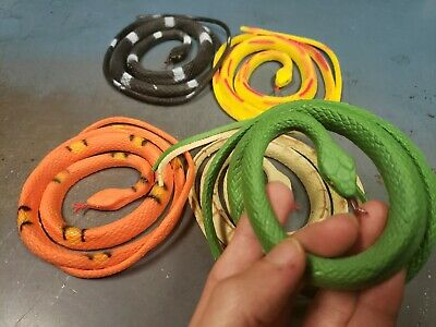 SCARY Plastic Rubber Snake Toy Scare Birds Mice Repeller Realistic Fake SET OF 3 (Realistic Rubber Snake)