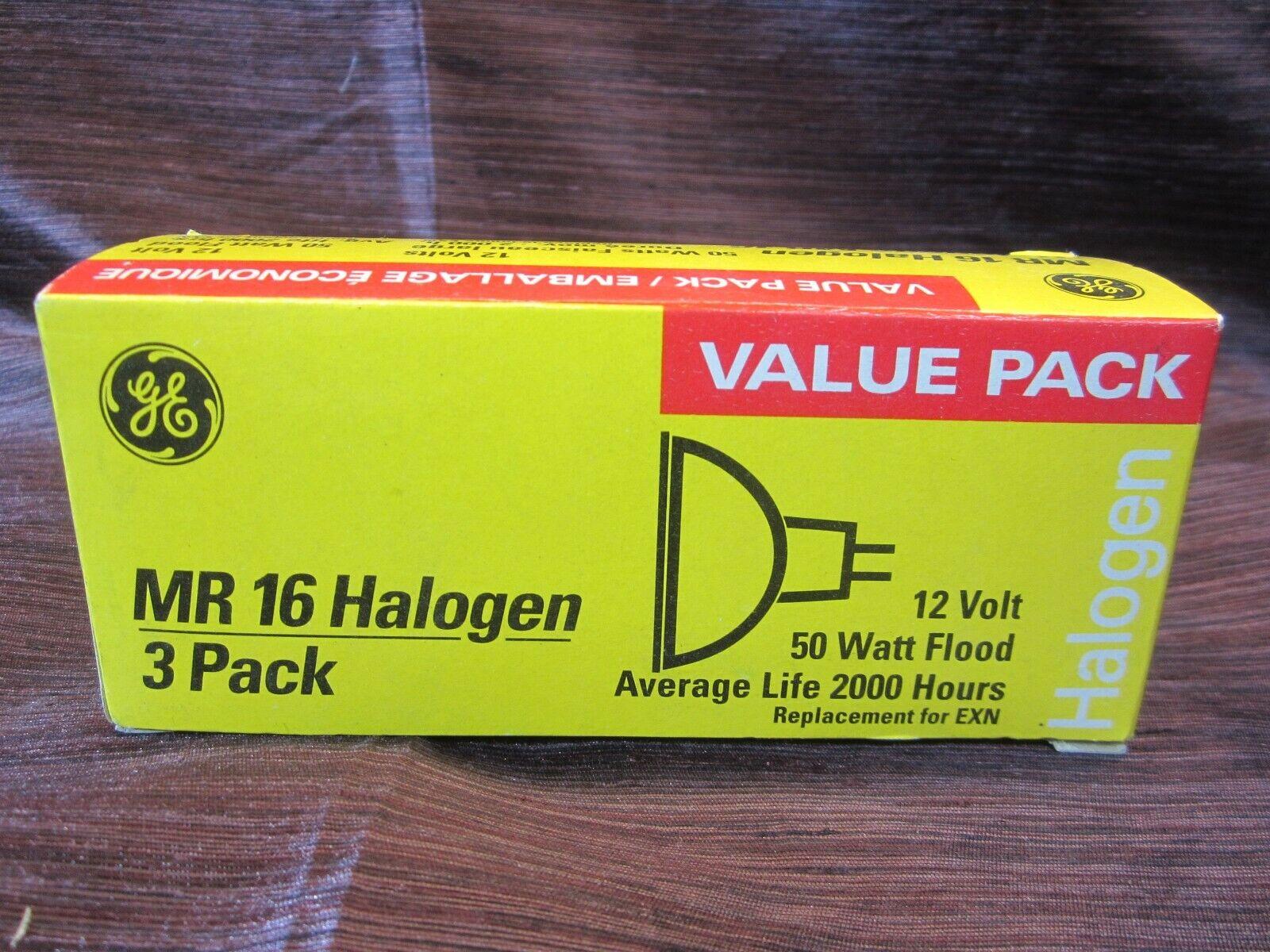 GE Indoor Flood Halogen Light Bulbs Mr16 50w 12v 3-pack  - N