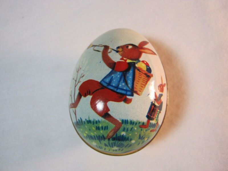 TIN EASTER CANDY CONTAINER EGG WITH RABBIT VINTAGE    T*