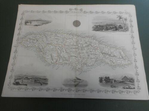 100% ORIGINAL JAMAICA  MAP BY J TALLIS C1858 VGC COLOUR COLOUR