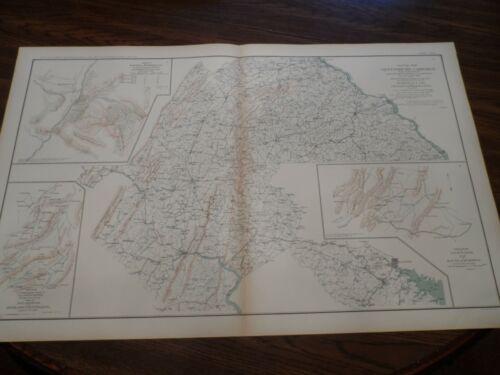 Antique US CSA Civil War Route Map of Gettysburg Campaign Used Gen. R.E. Lee