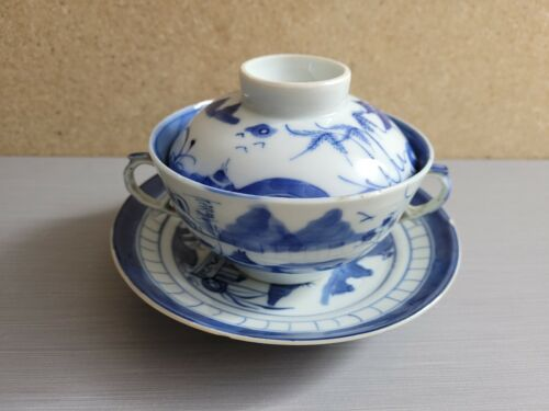 Chinese Blue White Porcelain Covered Double Handle Tea Cup & Bowl #2
