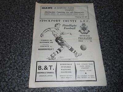 STOCKPORT COUNTY  v  HUDDERSFIELD TOWN  1956/7  FLOODLIT FRIENDLY ~ NOVEMBER 6th