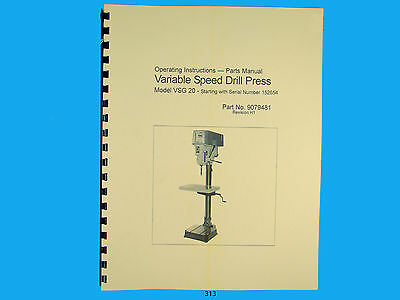 Wilton Model Vsg-20 Variable Speed Drill Press Op Instruct Parts Manual 312