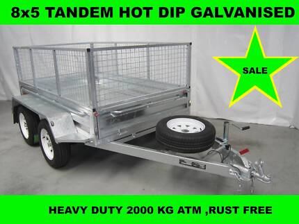 8x5 HOT DIP GALVANISED TRAILER 2000KG GVM ON SALE NOW