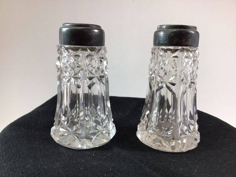 Antique Cut Glass Crystal Salt & Pepper Shakers Sterling Tops Mother of Pearl