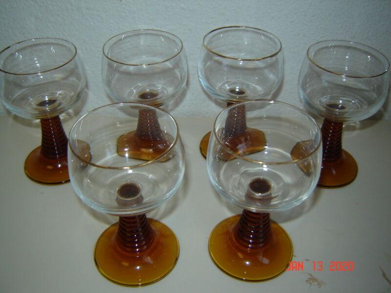 German Ringed Brown / Gold Stem Wine Glass Goblet Gold Trim Lot Set of 6