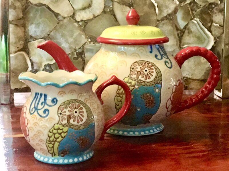 Dutchwax Handpainted Floral Owl Teapot & Creamer Mint Condition