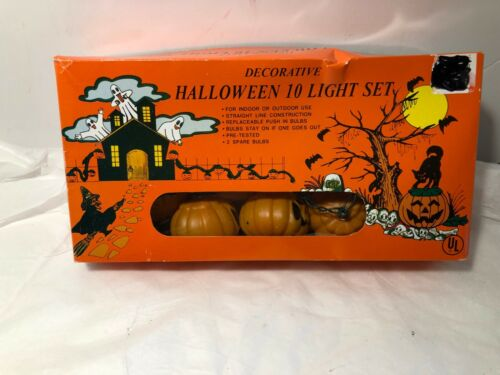 Halloween Plastic Pumpkin String Light Set of 10  Works w/ Box