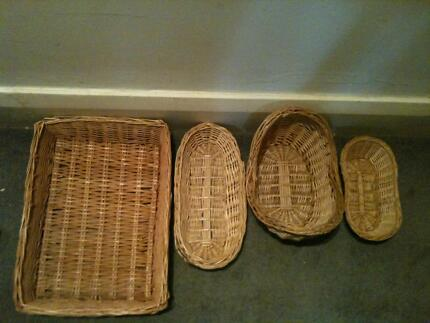 4 Piece Handy Natural Wicker Basket Set in Various Sizes&Shapes Coogee Eastern Suburbs Preview