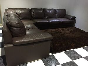 Chocolate brown leather Corner Lounge chaise Plumpton Blacktown Area Preview