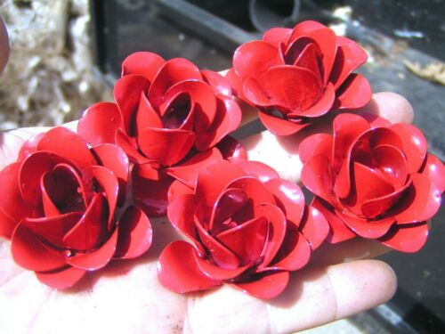 5 medium metal Red roses, flowers for crafts, jewelry, embellishments, accents