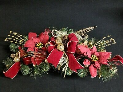 Christmas Mantel Swag Holiday Garland Custom Decorated Poinsettia Ribbon - Christmas Mantel Decorations