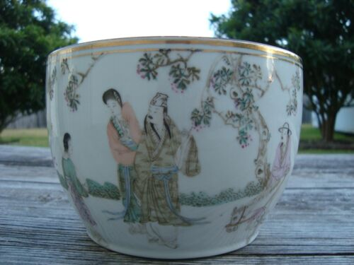 Antique Chinese Qianjiang Porcelain Brush Pot Painted and Caligraphed Tangzizhen