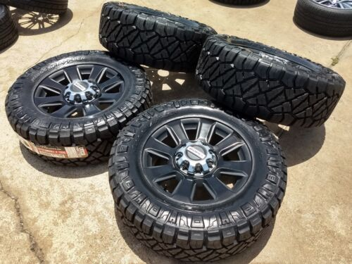 "20"" Ford F-250 F-350 Black Oem Rims Wheels 35x12.5x20 Nitto Tire 10103 2018 2019"